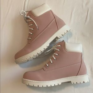 Light pink and white combat boots